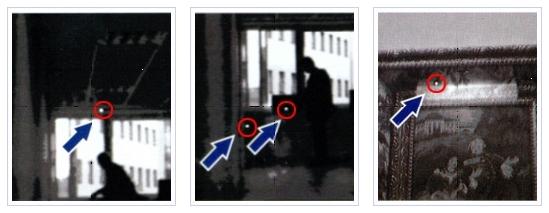 천정, 사무기기, 액자 속의 몰카가 발견된 사진